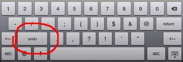 iPad typing undo redo