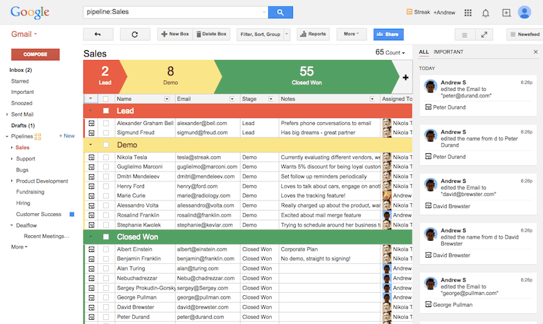 Streak for Gmail