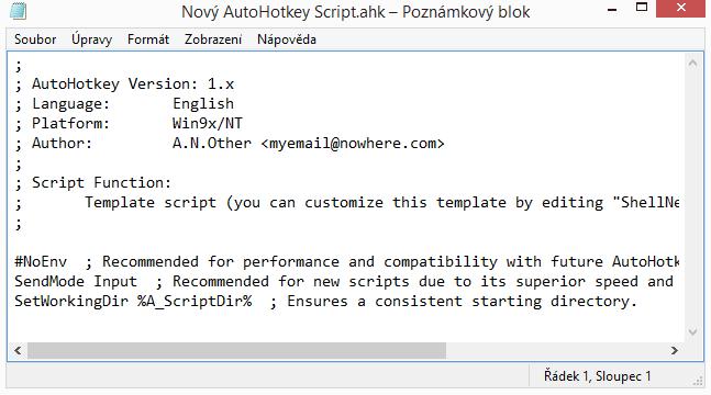 AutoHotkey - editační okno