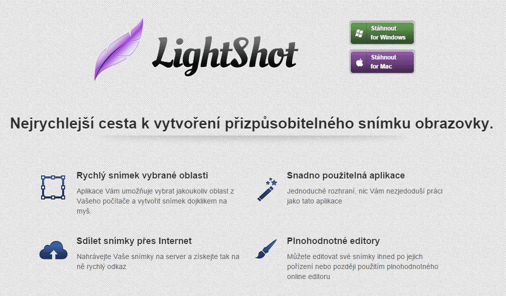 LightShot - úvodní snímek
