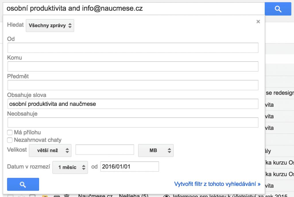 Gmail hledání