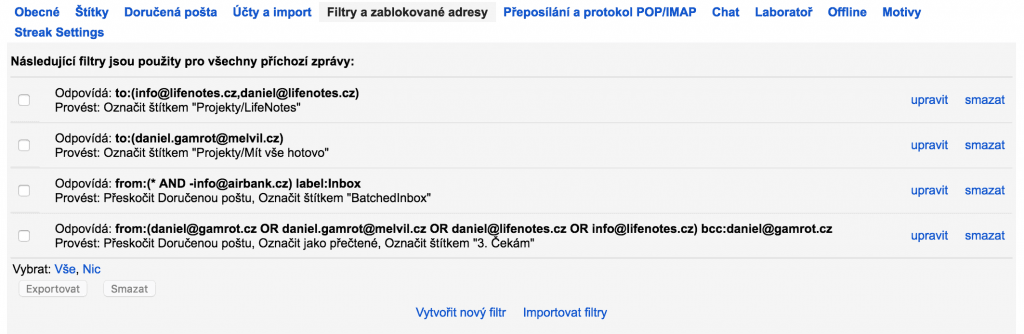 Gmail filtry