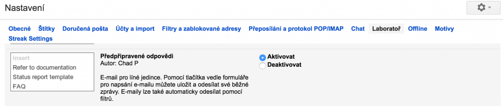 Gmail Laboratoř
